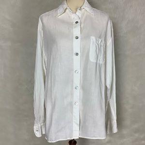 Bryn Walker White Linen Long Sleeve Blouse